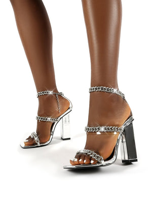 Celebrity Silver Diamante Chain Block Heels