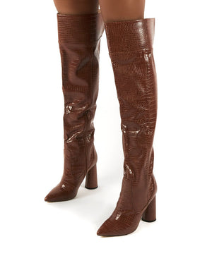 Hometown Wide Fit Tan Croc Over The Knee Heeled Boots