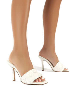 Leila White Woven Square Toe Heeled Mules