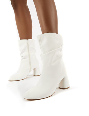 Marshmallow White PU Wide Fit Heeled Ankle Boots