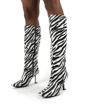 Repeat Zebra Heeled Knee High Boots