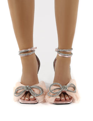 Sugarcoat Nude Wrap Around Diamante Bow Square Toe Heels