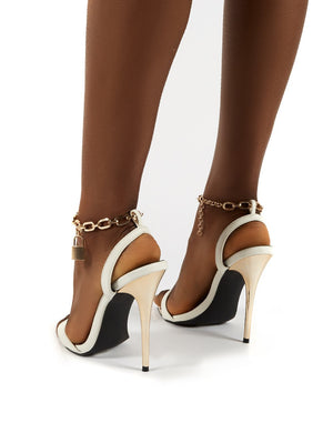 Triumph Wide Fit White Lock Chain Detail Anklet Strap Stiletto Heels