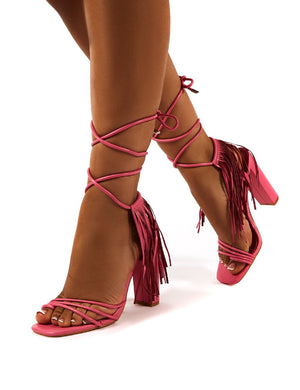Venga Pink Tassel Detail Lace Up Block Heels