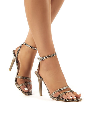 Close Up Snakeskin Squared Toe Strappy Stiletto Heels