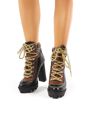 Dakota Black Lace Up Heeled Hiker Boots
