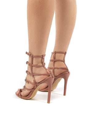 Markle Pink PU Stappy Buckle Detail Heels
