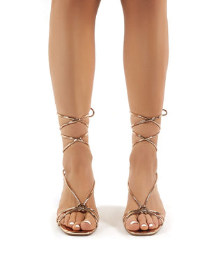 Yola Rose Gold Strappy Block Heeled Lace Up Sandals