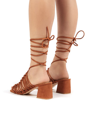 Bali Tan Faux Suede Lace up Mid Heel