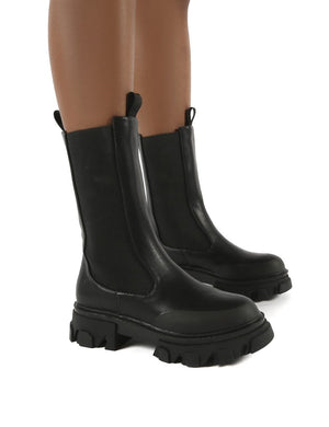 Boston Black Calf High Chunky Sole Boots