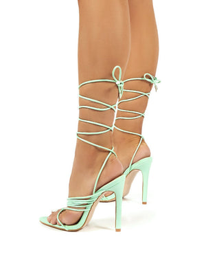 Controversial Mint Strappy Lace Up High Heels
