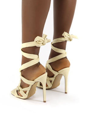 Convo Vanilla Wide Fit Neoprene Knotted Lace Up Stiletto High Heels