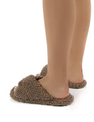 Cozee Tan Fluffy Teddy Cross Over Strap Slippers