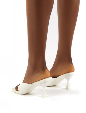 Harlie White Toe Post Square Toe Heeled Mules