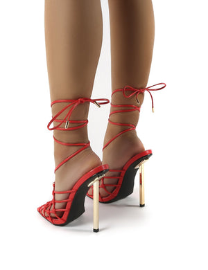 Hazie Red PU Lace Up Stiletto