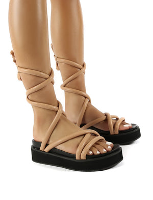 Jolly Nude Drench PU Weaved Ankle Strap Detail Chunky Sandals