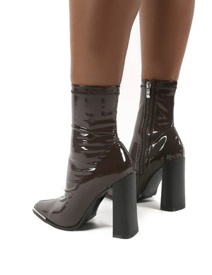 Liberty Chocolate Sock High Heeled Ankle Boots