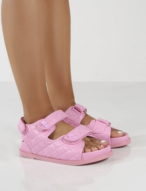 Maeve Wide Fit Pink PU Quilted Flat Sandals