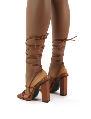 Mollie Tan Pu Wide FIt Lace Up Block Heels