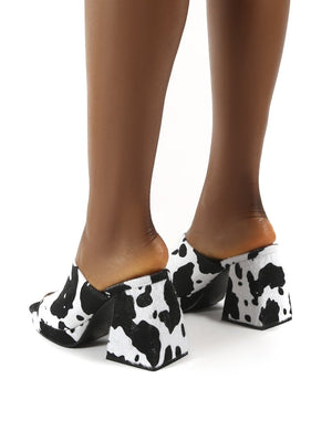 Oreo Cow Print Wide Fit Chunky Heel Mules