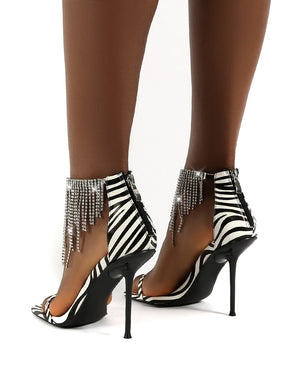 Redemption Zebra Diamante Tassel Square Toe Ankle Stiletto Heels
