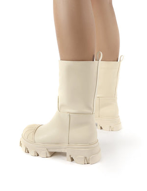 Showdown Cream Calf High Chunky Sole Boots