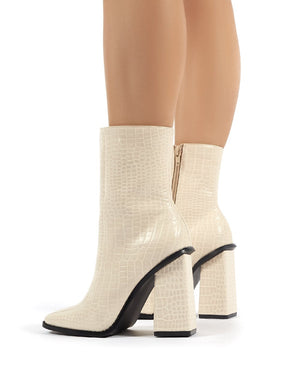 Slick Beige Croc Square Toe Block Heeled Ankle Boots