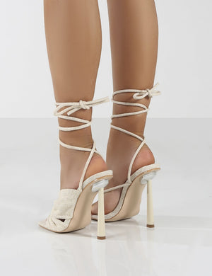 Soiree Natural Linen Cross Over Strappy Lace Up Heels