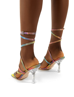 Sugar Holographic Wrap Ankle Perspex Square Toe Heels