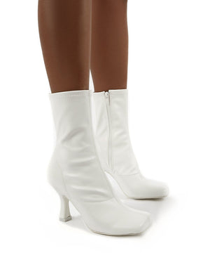 Violate White Square Toe Heeled Ankle Boot