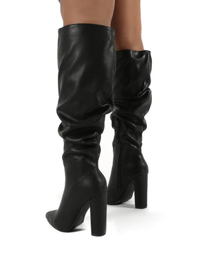 Yours Black Wide Fit PU Heeled Knee High Block Boots