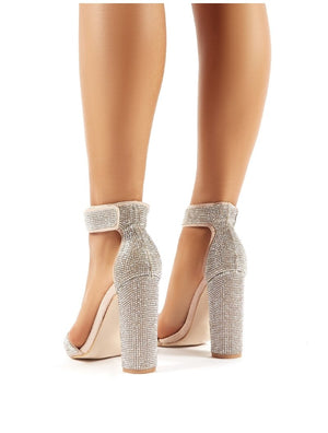Drippin Nude Diamante Block Heeled Barely Theres