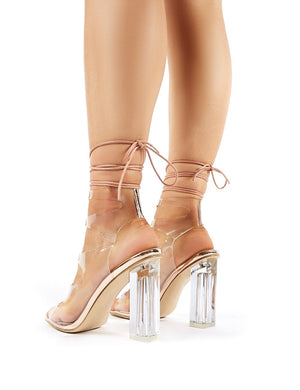 Mango Rose Gold Lace Up Perspex Block Heels
