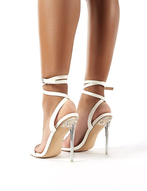 Relish White Patent Lace Up Perspex Stiletto Heels