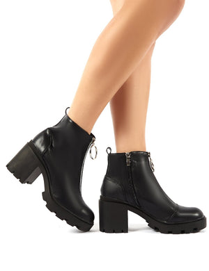 Gospel Black PU Zip Up Chunky Heeled Ankle Boots