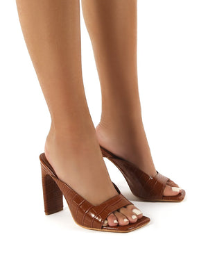 Abella Tan Square Toe High Heeled Mules