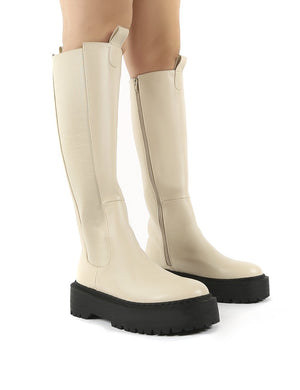 Andi Bone Pu Knee High Chunky Sole Boots