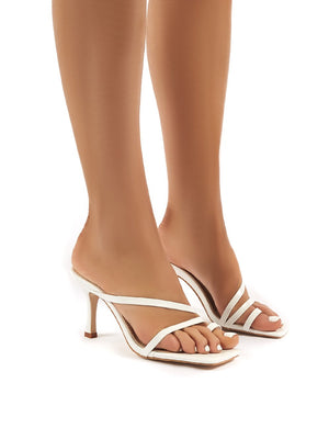 Bombshell White PU Strappy Toe Loop High Heels