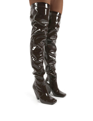 Conquer Chocolate Patent Thigh High Over The Knee Square Toe Cone Block Heeled Boots
