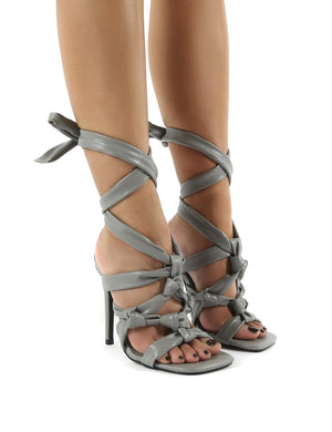 Convo Grey Wide Fit Knotted Lace Up Stiletto High Heels