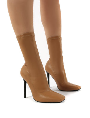 Everything Camel Square Toe Sock Fit Stiletto Heeled Ankle Boot