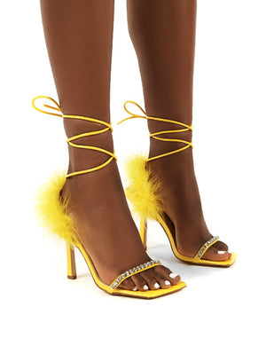 Fifi Yellow Feather Lace Up Ankle Square Toe Stiletto Heels