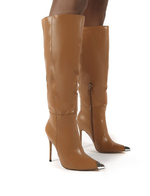 Forgive Tan Pu Wide Fit Heeled Knee High Boots