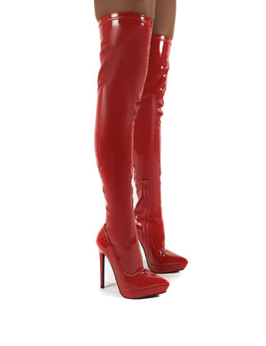 Forward Red Patent Stiletto Heeled Over the Knee Boots