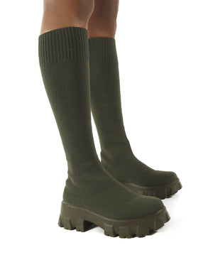 Future Khaki Knit Chunky Sole Knee High Boots