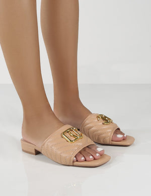 Harrie Nude Padded Metal Detail Flat Strappy Sandals