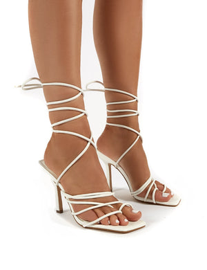 Haute White Square Toe Strappy Lace Up Heels