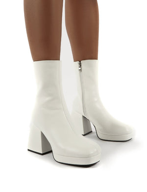 Imagine White Chunky Heel Ankle Boots