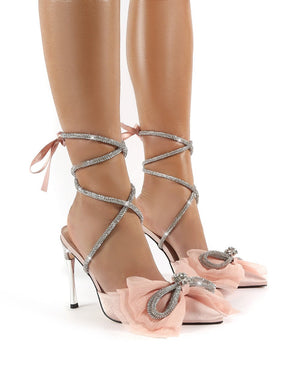 Romantic Nude Diamante Bow Lace Up Court Heels