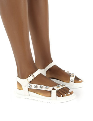 Sadie White Jewel Detail Flat Sandal